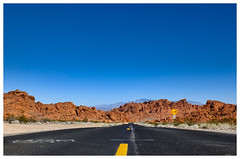 Valley of fire (whistlah50) Tags: valleyoffire road red rocks blue sky outdoor usa nevada state park