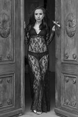Welcome to our mansion (piotr_szymanek) Tags: malwina malwinas woman young skinny face eyesoncamera portrait studio blackandwhite transparent lingerie door entrance legs 1k 20f 50f 5k 100f 10k