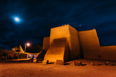 Christmas Star (Trent's Pics) Tags: christmaseve newmexico nightphotography romancatholic sanfranciscodeasis starrynight architecture catholic christian christmas church lights luminarias mission moon night stars taos christmasstar