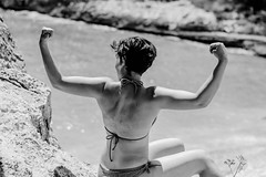 The power...of shadow (Vagabundina) Tags: lady girl power muscle skin back beauty beach blackwhite portrait body figure person nikon nikond5300 dsrl