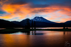 South Sister from Sparks Lake, OR (Scott Rubey) Tags: cascade cascades central charity clouds lake landscape mountain nature northwest oregon pacific peak photography reflection sister sky south sparks sunset threesisters trees water