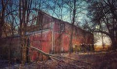red dawn... (BillsExplorations) Tags: barn reddawn red abandoned abandonedillinois abandonedfarm forgotten farm old neglected ruraldecay ruraldeterioration dawn
