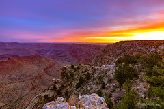 A Vibrant New Day (dan@propeakphotography.com) Tags: america architecture arizona blue blueskies buildings canyon clouds coloradoriver colors desertview famousplace grandcanyon iconic internationallandmark nps nationalpark nature navajopoint northamerica orange purple red river skyline southrim spring sunrise texture touristattraction traveldestination travelandtourism trees unescoworldheritagesite usa unitedstates watchtower yellow unitedstatesofamerica us breath taking landscapes