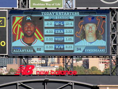 Citi Field, 09/30/18 (NYM v MIA): today's starting pitchers and their statistics, as shown on the right field scoreboard - Sandy Alcantara for Miami and Noah Syndergaard for New York (IMG_4410a) (Gary Dunaier) Tags: ballparks baseball stadiums stadia mets newyorkmets flushing queens newyorkcity queenscounty queensboro queensborough citifield