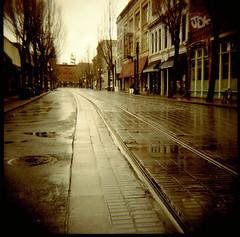 tracks (lawatt) Tags: street tracks portland oregon film 120 portra 400nc diana f