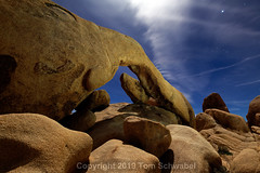 Moon Rocks (pdxsafariguy) Tags: arch night nature landscape rock california desert sky star astronomy blue stars joshuatree natural usa archrock nationalpark joshuatreenationalpark stone shadow clouds usnationalpark granite boulder tomschwabel