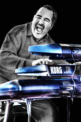 pianoman ... (daystar297) Tags: portrait musician music piano pianist keyboards jazz blues bnw photoshop manipulation nikon latin korg