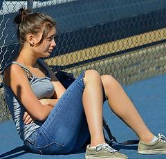 Wait State (Scott 97006) Tags: girl waiting seated female lady sunshine heat pretty cute jeans