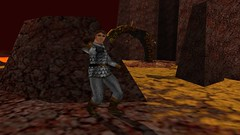 Basilisk Bester (Platemail) (BarricadeCaptures) Tags: kingsquest kingsquestmaskofeternity maskofeternity thebarrenregion barrenregion lava connorofdaventry connor chainmail platemail basilisk rocks gamescreenshots gamephotography videogame screencapture screenshot
