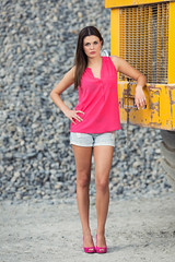 old stone pit II (MKF_images) Tags: model girl woman longlegs brunette sexy longhair hotpants highheels portrait fashion streetfashion bokeh strobist shooting stonepit rocks yellow industrial summer evening truck