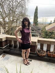 Purple and sparkly. Dinner outfit for 22 March. 😊 JenniJennifer Stewarttfit I mentioned that I thought was like yours (purple top and short skirt). (robinlane98) Tags: robinlane98 genderfluid gurl crossdress cd trans tgirl