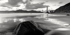 Golden Gate Bridge from Baker Beach (shoot.raw) Tags: goldengate landscape blackandwhite sf sanfrancisco beach longexposure water