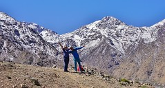 The Hills Are Alive - Morocco - Atlas Mountains - Mar 2018 (Gareth1953 All Right Now) Tags: morocco atlasmountains snow wife mountain guide posing summit singing armsintheair celebration