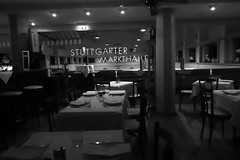 a restaurant@Markthalle, Stuttgart (Amselchen) Tags: city stuttgart germany citylife restaurant gastronomy bnw blackandwhite light dof depthoffield canon ef2470mmf4lisusm canoneos6dmarkii