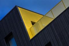 The yellow corner (jefvandenhoute) Tags: belgium belgië brussels brussel yellow wall windows balcony geometric light