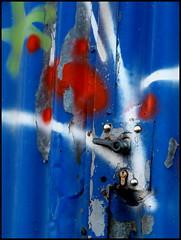 Locked (Barbara Wenzel-Winter) Tags: industriegebiet abstrakt grafitti türen schlos farbebunt blau malerei rost desolates