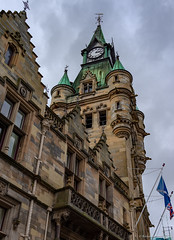 Dunfermline city chambers clock tower (Rourkeor) Tags: 35mm 35mmzeisssonnartlens carlzeiss dunfermline rx1r scotland sony uk circa1875 clocktower flags fullframe saltireflag town