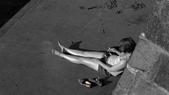 a sunny day. in northern germany (j.p.yef) Tags: jpyef peterfey yef germany lübeck people girl sitting outside sunny sun monochrome bw sw selectivecolor photomanipulation bestportraitsaoi