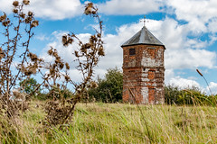 The Pepperbox (Keith in Exeter) Tags: pepperbox building folly lookout hunting tower brick brickworth down salisbury wiltshire architecture landscape grass field tree bush thistle plant sky nationaltrust