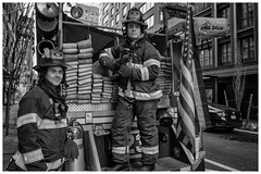 FDNY firemen - Strangers 30 and 31 (AEChown) Tags: 100strangers strangers fdny newyork firefighters thehumanfamily portraits mono monochrome blackandwhite fireengine