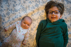 (patrickjoust) Tags: sony a7 digital manual lens domestic home baltimore maryland usa us united states north america estados unidos geneva llewelyn girl boy brother sister smile bed happy kids child children nikkor 35mm f2 ai