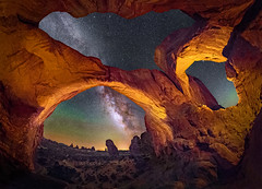 Double Arch Panorama (Wayne Pinkston) Tags: arch archesnationalpark doublearch naturalarch panorama night sky nightsky lowlevellighting nightphotography nightlandscape waynepinkston waynepinkstonphotocom lightcraftercom astrophotography landscapeastrophotography widefieldastrophotography star stars starrynight starrysky milkyway galaxy