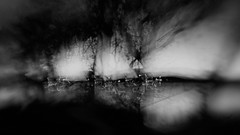 Twilight at the lake. Abstract. Black and white. (Richard Denney) Tags: abstract blackandwhite lensbaby intentionalcameramovement longexpsosure lake trees sky twilight icm water park night