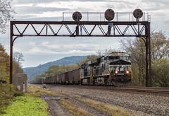 NS 3641 - Barree, PA (Wheelnrail) Tags: ns norfolk southern ge et44ac locomotive pittsburgh line middle division signal bridge prr pl position light coal train trains pennsylvania barree