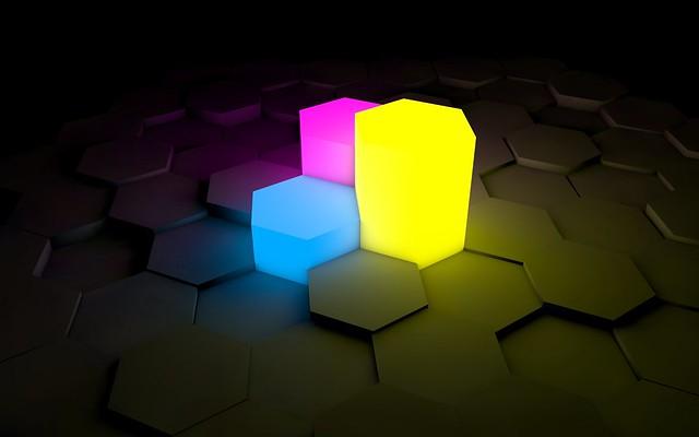 Обои фигурки, свет, неон, поверхность картинки на рабочий стол, фото скачать бесплатно