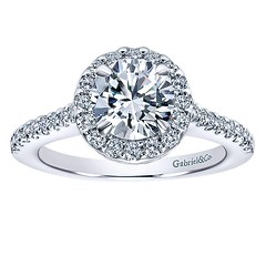 Classic Round Halo With Diamond Encrusted Band Shines Across 14k White Gold Engagement Ring Setting (diamondanddesign) Tags: classicroundhalowithdiamondencrustedbandshinesacross14kwhitegoldengagementringsetting er5832w44jj bridal rd engagement rings gbbr 7 044 ct gabriel ny diamond 14k white gold lifestyle