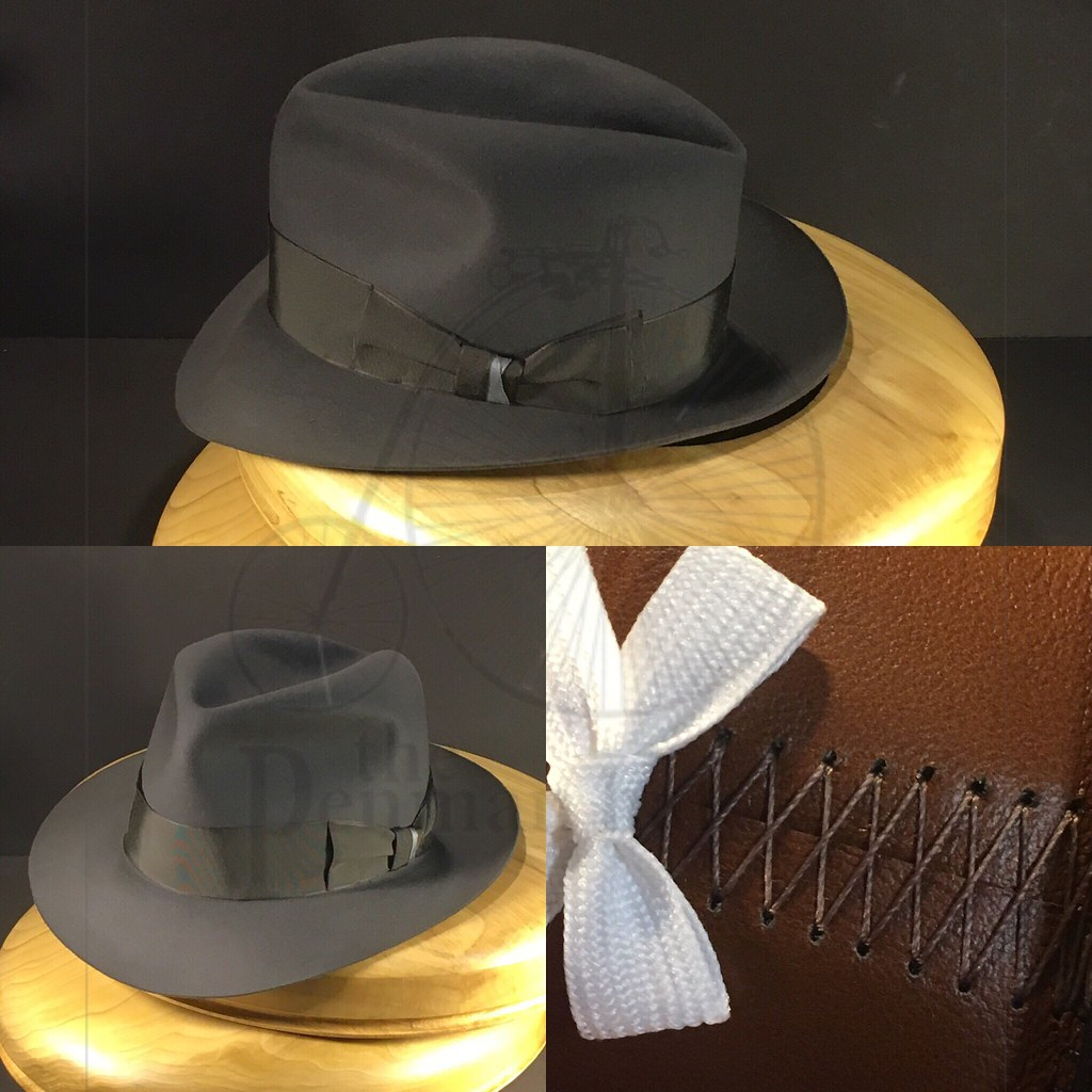 084cad7266923 Just finishing up on this bespoke fedora. Mid grey Portuguese Beaver felt  with vintage grosgrain