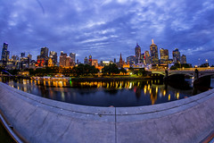 Blue Border (Jared Beaney) Tags: canon canon6d australia australian photography photographer travel melbourne bluehour city cityscapes cityscape yarrariver reflections fisheye reflection clouds