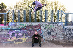 Table over my friend. (Bearded Shooter) Tags: bmx bmxing jump jumping trick tricks air table tabletop skate skatepark friend male portrait people cult obyssey federal graffiti concrete city street streetphotography nikon mynikon d7200