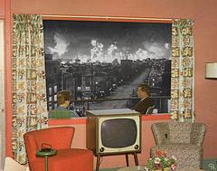 hawmft (woodcum) Tags: people friends sitting balcony window city fire surreal color bw blackandwhite collage gif gifanimation animation animated grain retro vintage