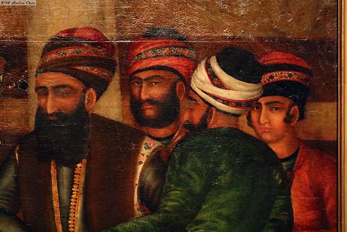 Close up section of painting: Karim Khan Zand and his close circle