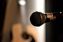Before the live (jimiliop) Tags: mic microphone guitar dof focus music bokeh live lowlight