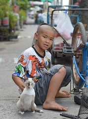 top knot boy with his cat (the foreign photographer - ฝรั่งถ่) Tags: top knot boy cat khlong lat phrao portraits bangkhen bangkok thailand nikon d3200