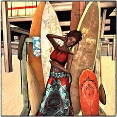 at the beach... (~ Xantias ~) Tags: sl secondlife beach sun sand waves painting surfing surfboard