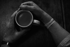 The morning after (gavweaver.com) Tags: tea hands bangle bw monochrome mug cup fingers brew drink table bracelet band