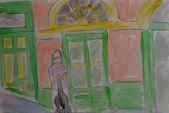 Musician for Hire (BKHagar *Kim*) Tags: bkhagar sketch painting paint watercolor watercolour neworleans frenchquarter nola la louisiana virtualtravelpaintinggroup challenge googleearthstreetview google