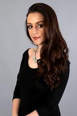 Rebecca Louise (Wilamoyo) Tags: rebeccalouise peopleportrait creativestudioportraits beauty girl long hair pretty feminine smile black dress portrait female grey background model