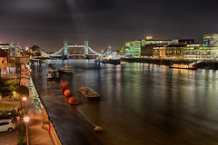 Towards Tower Bridge (Mister Oy) Tags: london towerbridge hmsbelfast river thames night fujix100f gorillapod longexposure smooth water light
