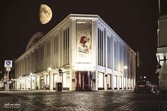 Halfmoon meets Stadtmuseum Münster  (manchmal muss es auch mal eine kleine Spielerei sein 😉) (Light and shade by Monika) Tags: moon langzeitbelichtung architektur composing münster