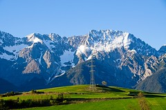 Mighty Tyrol, Austria (elzbietafazel) Tags: miemingerplateau tirol alps alpine mountains holidays scenic massive rocky landscape plateau miemingergebirge huge mountainrange peaks view austria powerline mightymountains sunnyday field rural steep travel lovelyplace sonnenplateau bluesky