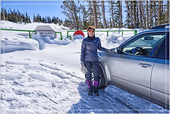 Road Closed (Runemaker) Tags: ellen road street snow winter route143 utah brianhead car vehicle automobile subaru forester sign trees mountain woman nikon d750