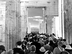 World's people united before Propylaea_IMG_7072r_01 (AchillWandering) Tags: blackandwhite bw outdoor ancient architecture archaeological arthistory propylaea people acropolis athens greece civilization calture beauty temple bc building mnesicles gateway monument monumental public athenian pericles greek marble pentelicmarble eleusinianmarble blue
