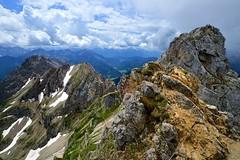 Mittenwald - Two Countries (cnmark) Tags: germany deutschland bayern bavaria mittenwald karwendel nördliche linderspitze clouds wolken blue sky outdoors mountans mountain range gebirgskette alpen alps landscape austria österreich ©allrightsreserved