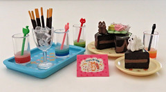 Girls Treasure # 4 (MurderWithMirrors) Tags: rement miniature food cake plate tray glasses stirrers pocky icecube birthdaycard mwm