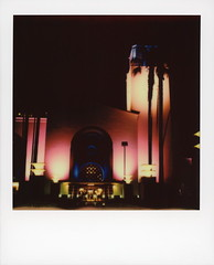 Union Station 13 (tobysx70) Tags: the impossible project polaroid slr680 frankenroid sx70 door rollers color film for 600 type cameras beta 30 3 0217 pioneer member test impossaroid union station alameda street dtla downtown los angeles la california ca night nocturnal lit illuminated amtrak metro train rail railway railroad terminus entrance sign clock tower palms palm tree silhouette pink blue toby hancock photography