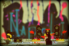 The Sound Clash (HiJinKs Media...) Tags: lego crazytuesday bokeh colours colors colori colores minifigures hiphop breakdance breakdancing bboy rock metal soundclash music tags beatbox boombox soundsystem clash sing guitar speakers battle vans